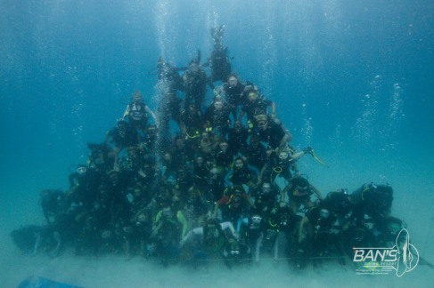 Guinness World Record Underwater human pyramid