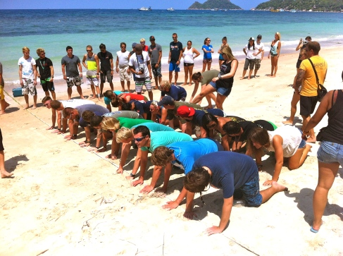 Guinness World Record Practice. Sairee Beach Koh Tao