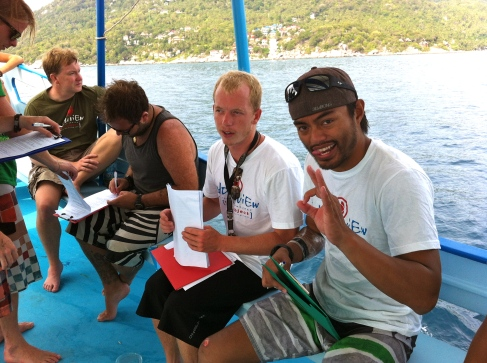 Scuba Instructor Tyler and Dive Master in training Manolo