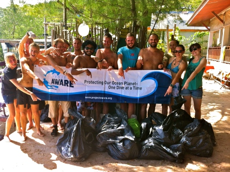 Project Awarer event. Beach Clean up. Koh Tao